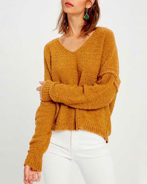 Textured V-Neck Knit Sweater - Mustard