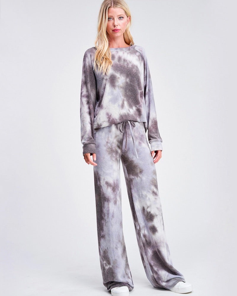 Tie Dye Print Sleep Lounge Wear Set - Grey & Lavender