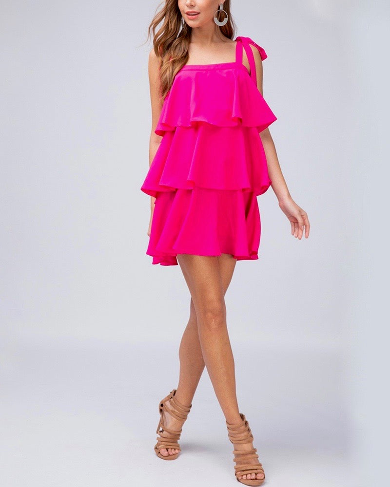 Final Sale - Tiered Ruffle Square Neck Mini Dress in Fuchsia