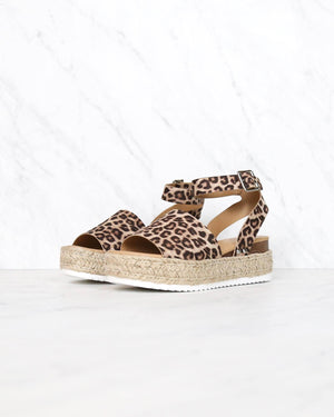Trendy Sporty Flatfrom Espadrille Sandal with Adjustable Ankle Strap in Oat Cheetah