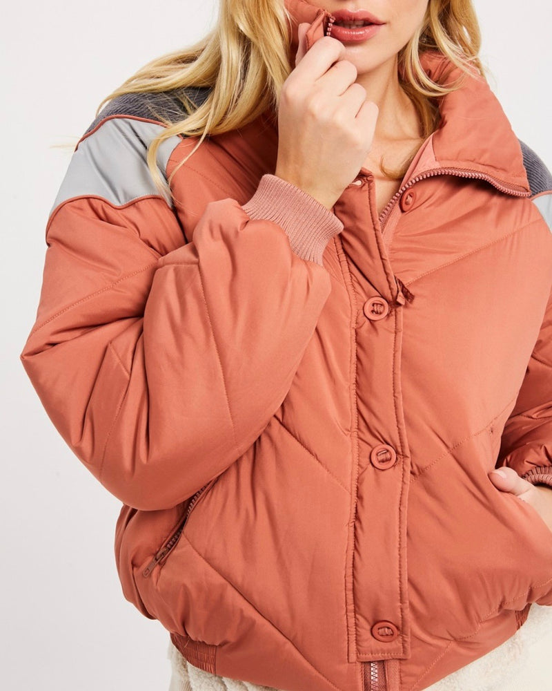 Turtle Neck Oversized Puffer Chevron Jacket - More Colors