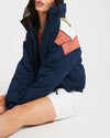 Free People Chevron Heidi Ski Puffer Jacket Navy