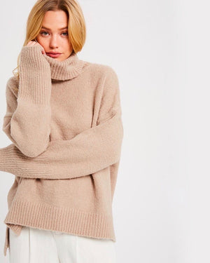 Turtle Neck Oversized Pullover Sweater - Mocha