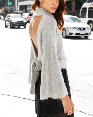 Olivaceous - Turtleneck Open Back Bell Sleeve Pullover Sweater - Ivory