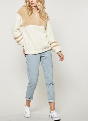 Final Sale - Two Tone Sherpa Half-Zip Pullover - Ivory/Taupe