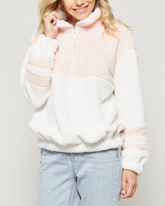 Final Sale - Two Tone Sherpa Half-Zip Pullover - Ivory/Blush