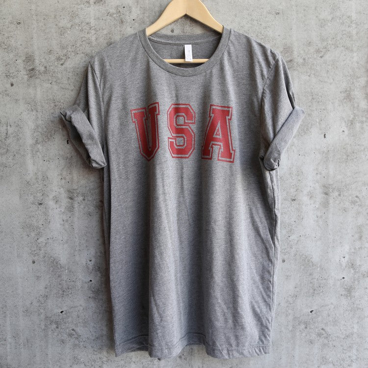 distracted - USA unisex triblend graphic tee - grey/red