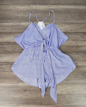 Love Affair Tie Front Stripe Romper in Blue