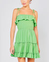 I Like You Smocked Tiered Dress in Lime