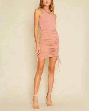 Serena Sleeveless Knit Side Ruching Dress in Mauve