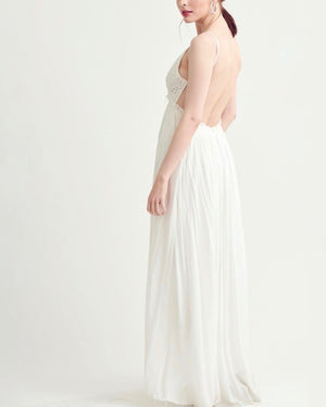 open back crochet maxi dress WHITE