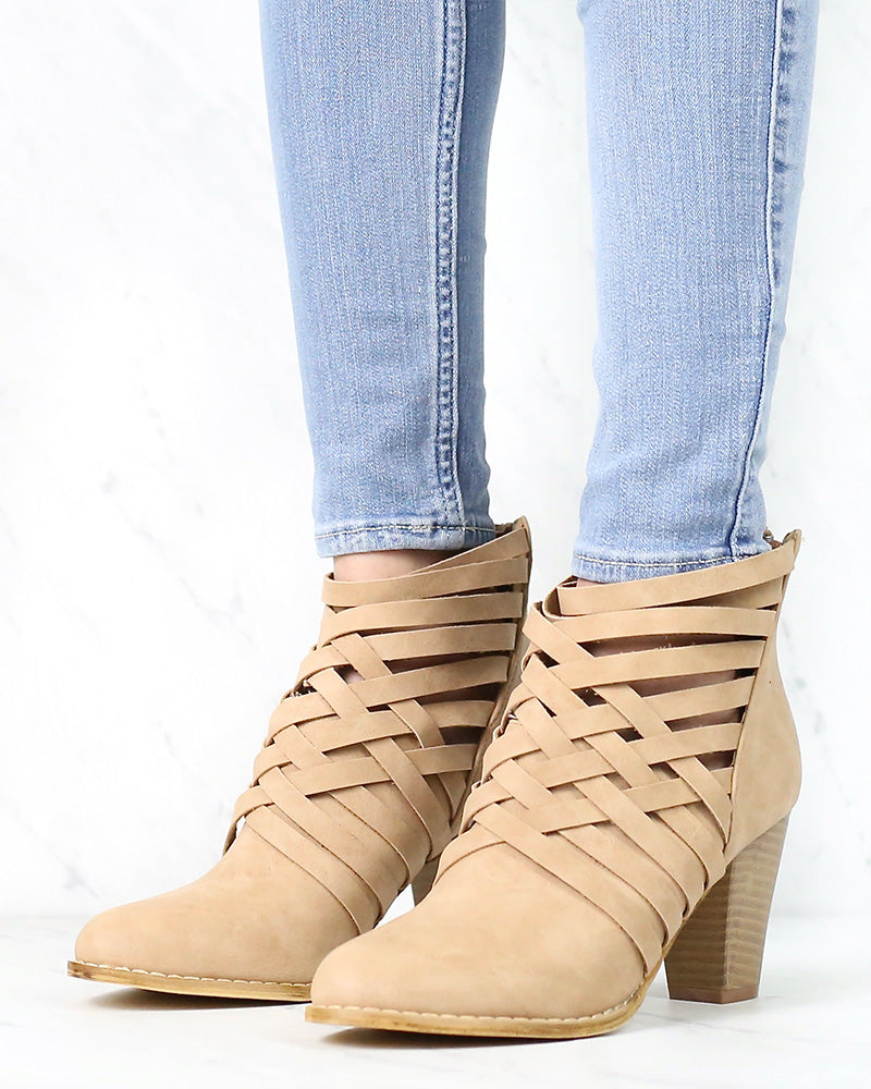 Urban Lights Cut Out Back Zip Chunky Heel Ankle Booties