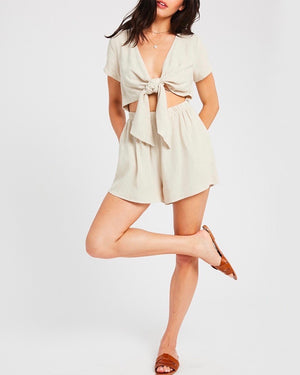 Charlotte V-neck Tie Front Romper in Oatmeal