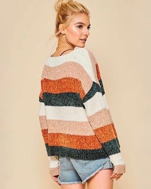 V-Neck Ribbed Colorblock Oversized Pullover Sweater