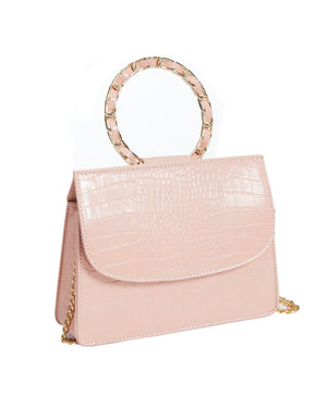 No Apologies Vegan Leather Faux Crocodile Chain Link Top Handle Cross Body Handbag in More Colors