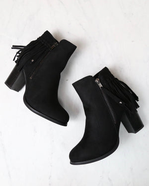 City Chic Fringe Vegan Suede Ankle Boots in Black