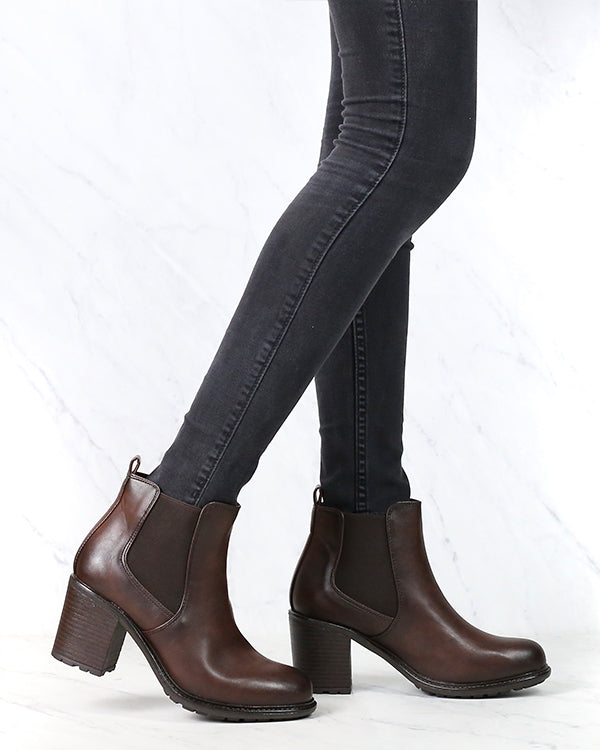 Vegan Leather Chelsea Boots in Dark Brown