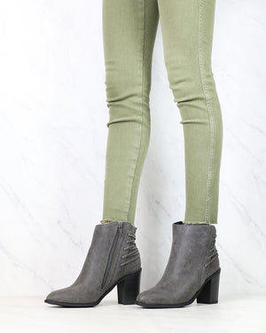 Very Volatile - Lacey Lace Up Back Booties in Charcoal