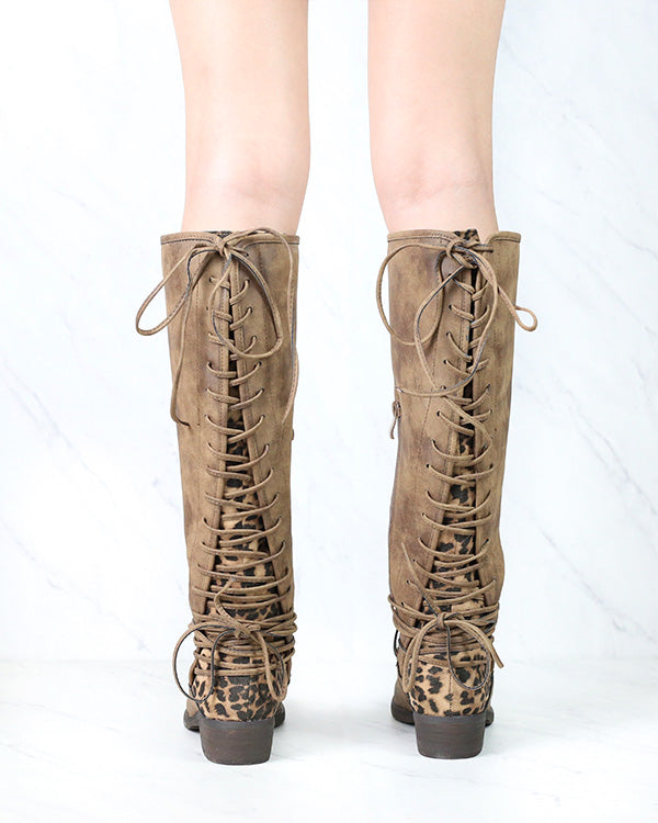 FINAL SALE - Very Volatile - Marcel Knee High Corset Boots in Tan/Leopard