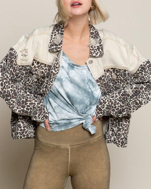Vintage Style Distressed Leopard Denim Jacket in Taupe