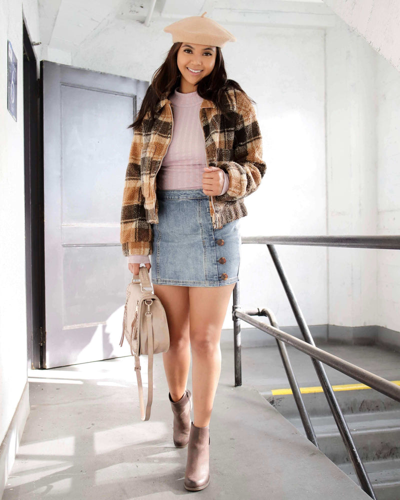 Vintage Plaid Cropped Sherpa Jacket