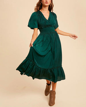 Whitney Washed Satin Ruffled Smocked Bodice Midi Dress in More Colors