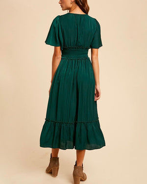 Whitney Washed Satin Ruffled Smocked Bodice Midi Dress in Hunter Green