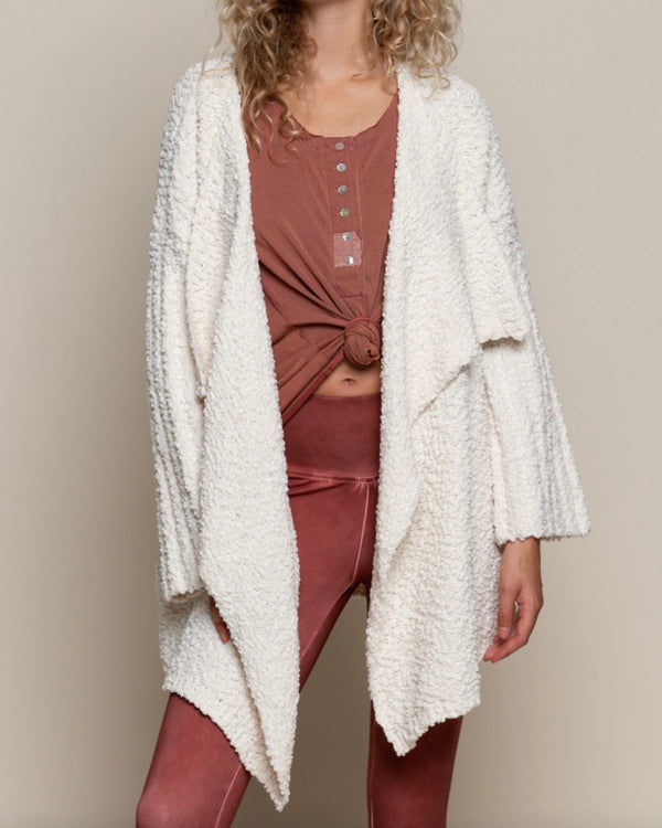 Open Front Waterfall Popcorn Cardigan Sweater in Pearled Ivory