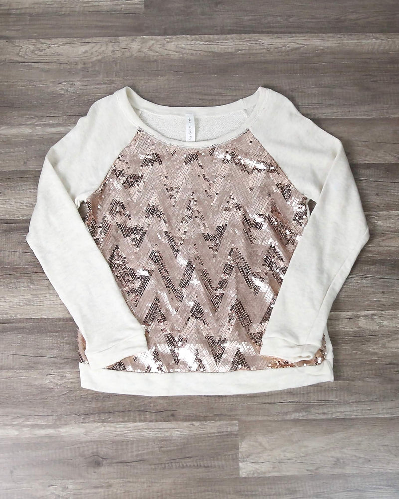 Final Sale - Chevron Sequin French Terry Shirt - Oatmeal