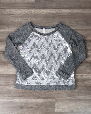 Final Sale - Chevron Sequin French Terry Shirt in Charcoal