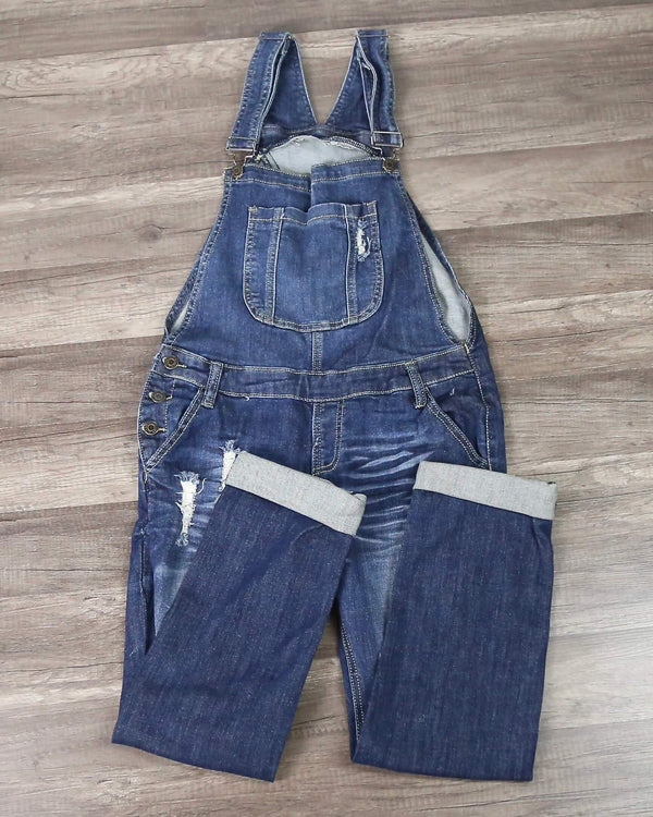 Ripped Denim Medium Wash Overalls