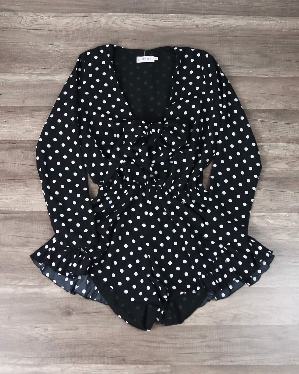Lioness - Black With Envy Ruffle Hem Polka Dot Romper