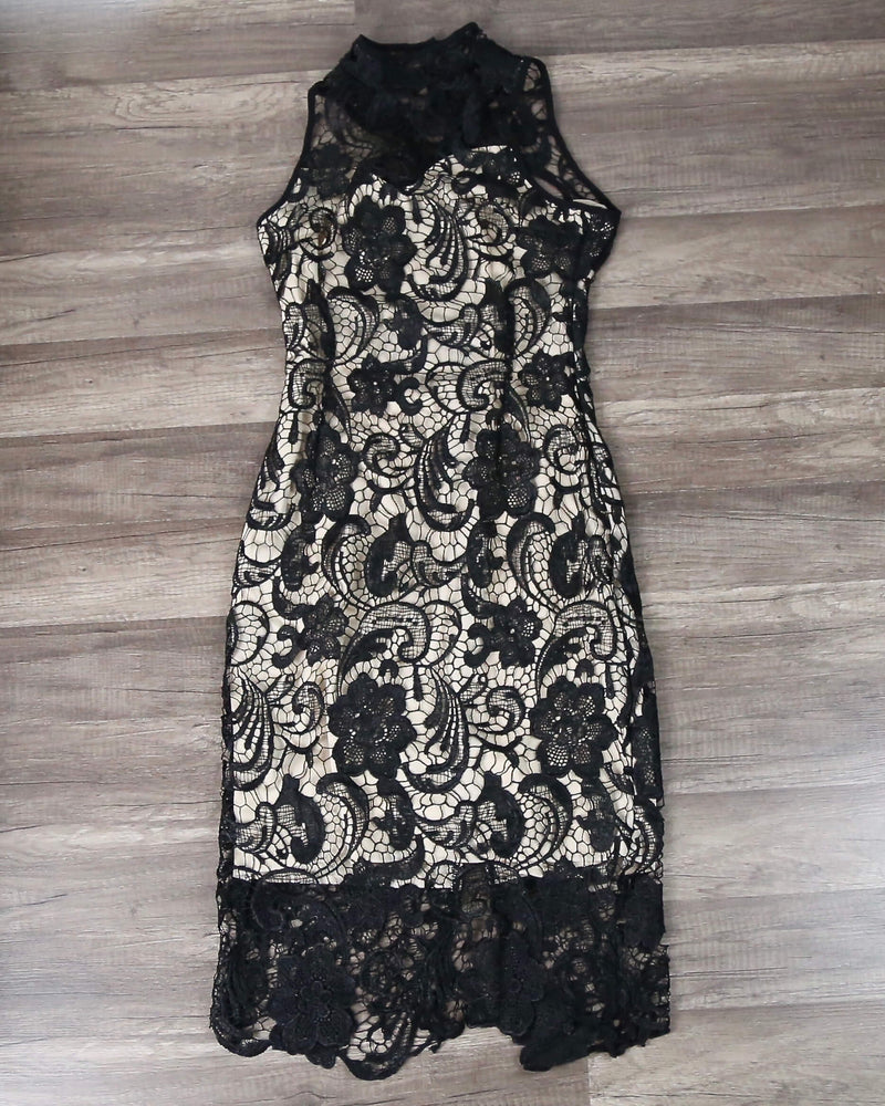 Lioness - Loves Divine Midi Lace Overlay Midi Dress - Black - shophearts - 4