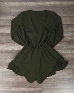 Lioness - Green With Envy Ruffle Hem Romper in Khaki Green