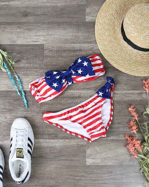 Final Sale - Dippin' Daisy's American Flag Bow Bikini