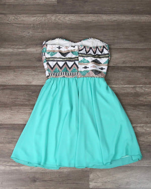 Aztec Sequin Strapless Sweetheart Dress in Turquoise
