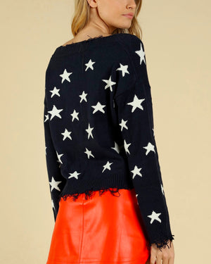 Wild Honey - Distressed Star Knit Sweater - Navy