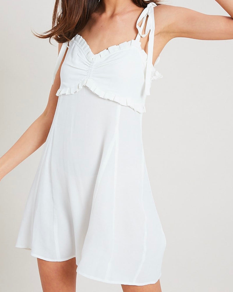 Take Your Time Ruffled Sweetheart Dress in Ivory