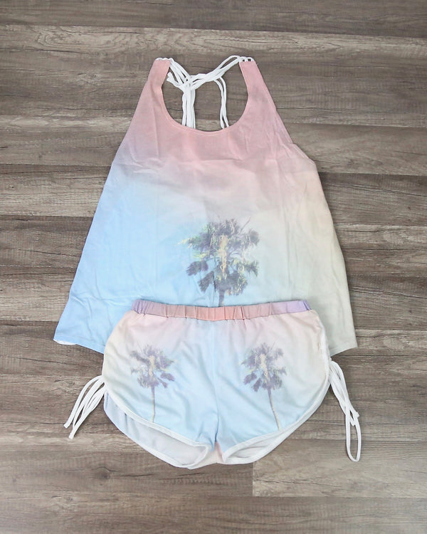 Palm Tree Tie Dye Lounge Wear Set (TOP AND BOTTOMS SEPARATE)