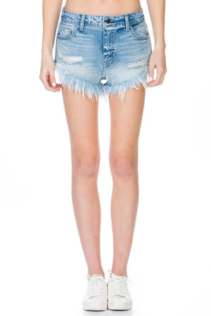 High Waist Distressed Denim Shorts - Light Denim