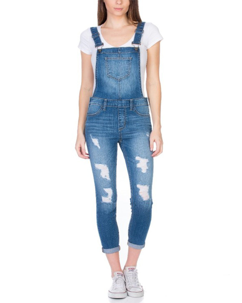 That's So 90's Distressed Overalls in Medium Blue