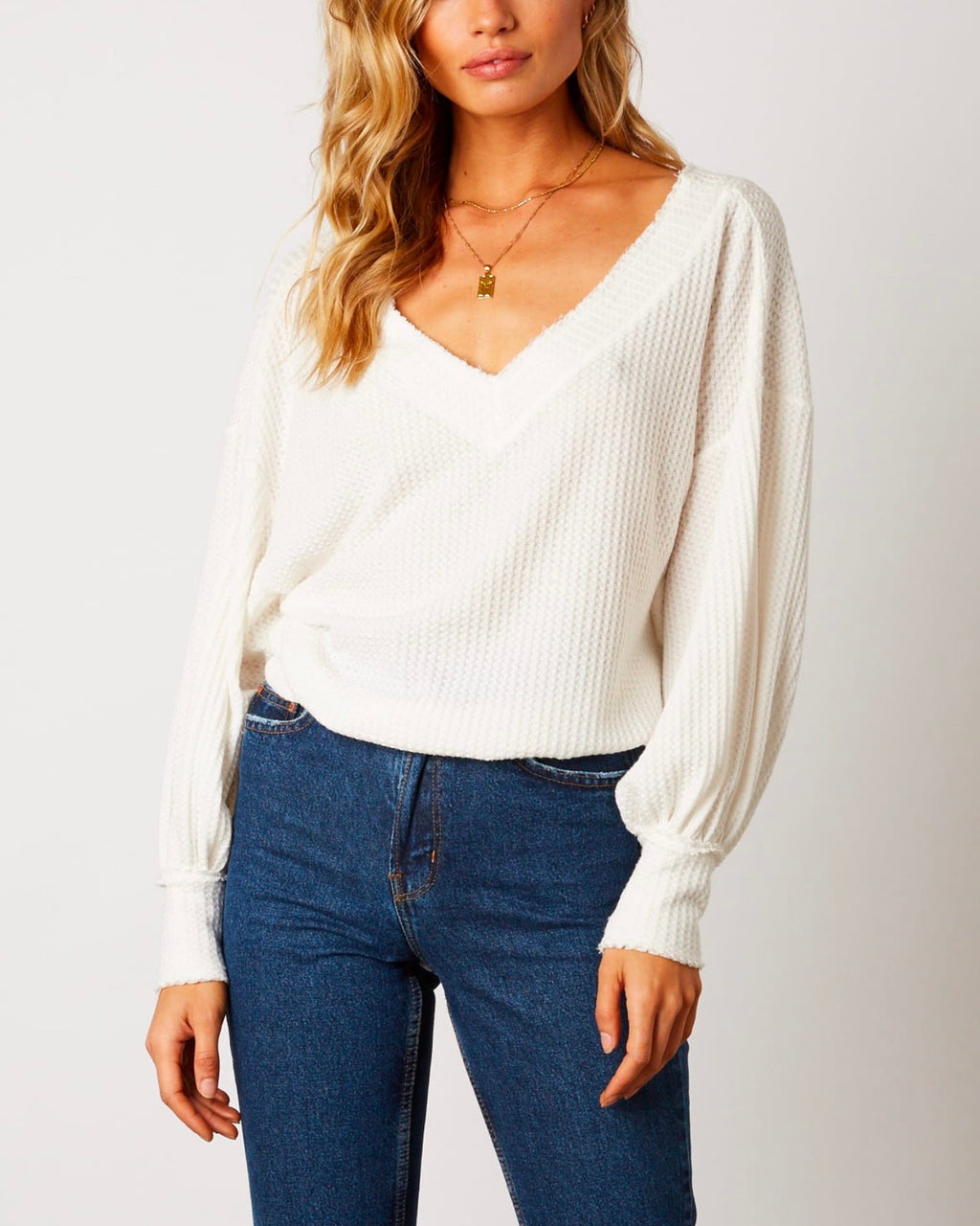 Waffle Knit Thermal V Neck Top with Cuffed Sleeves - More Colors