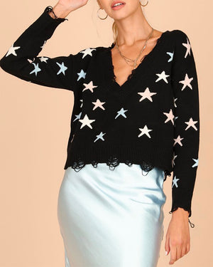 Wild Honey - Distressed Star Knit Sweater - More Colors