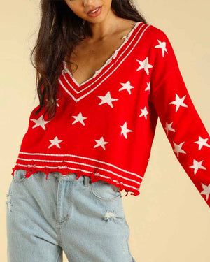 Wild Honey - Distressed V-Neck Star Knit Sweater - More Colors