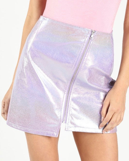 Wild Honey - Iridescent PU asymmetrical zip skirt in Holographic Purple