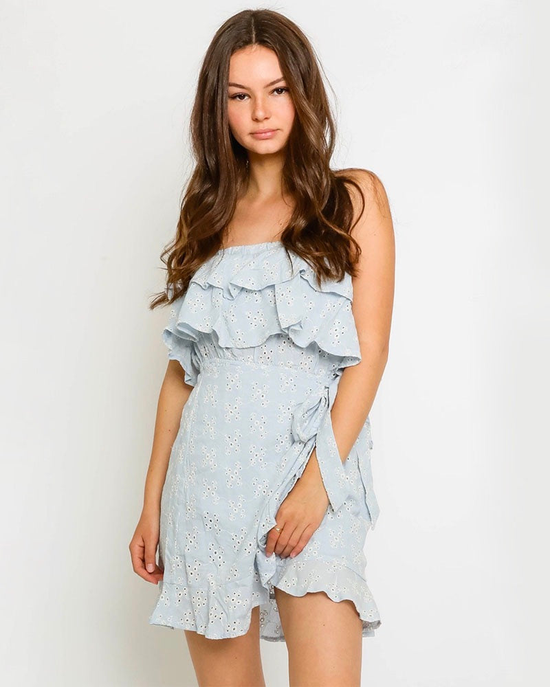 Wrapped Eyelet Ruffled Dress in Blue