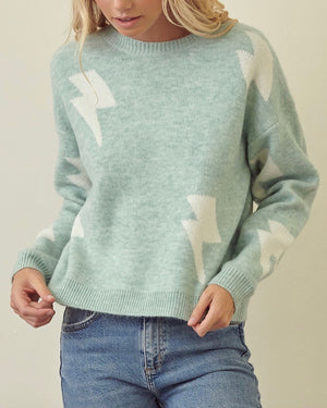 Zap! Zap! Lightning Bolt Patterned Knit Sweater with Drop Shoulders in More Colors