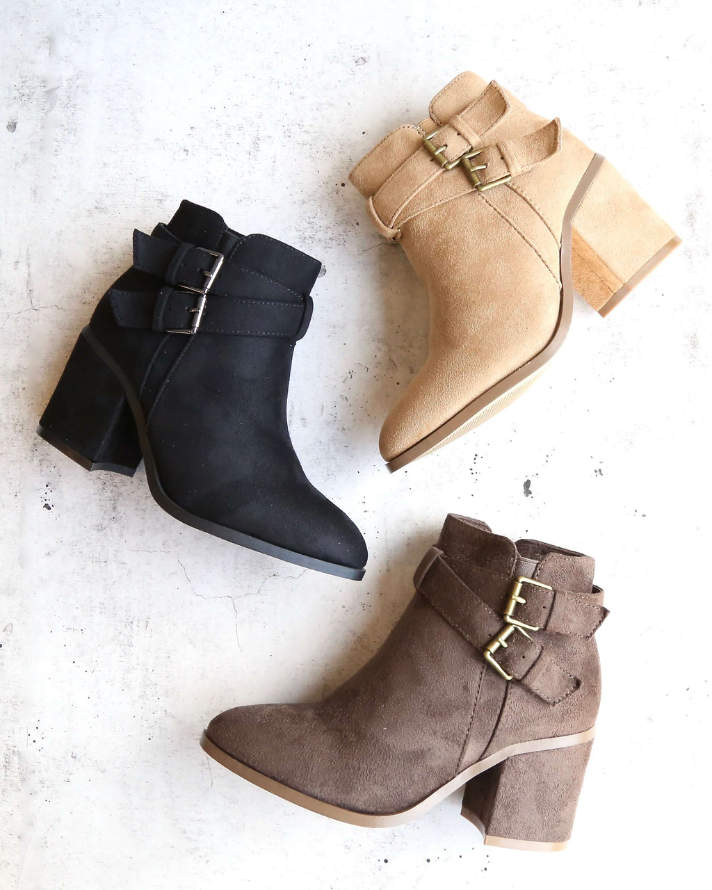 a grand entrance - faux suede ankle bootie with buckle detail - more colors