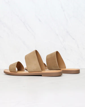 harmony - double strap faux suede sandal - dark natural