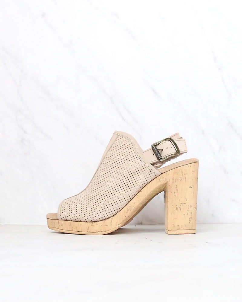 Sbicca - Almonte Open Toe Perforated Heel Sandal in Beige